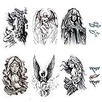 Yesallwas タトゥーシール 天使 羽 天使の翼 大判 黒 タトゥーステッカー ボディーシール メンズ レディース 刺青シール 防水 腕、足、体、胸、肩、背中に簡単貼る TATOO (C.8枚セット)
