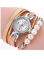 BCDshop 腕時計 CCQ レディース ファッション カジュアル アナログ クォーツ 羽 ラインストーン パール ブレスレット 腕時計