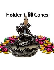 DELIWAYセラミックお香逆流ホルダー、さまざまなミックス香りつきIncense Cones and Burner/香炉セット ブラック DLW-HGIH-02