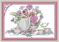 LovetheFamily ピンクのバラのテーブル 54×39cm DIY十字刺繍 手作り刺繍キット 正確な図柄印刷クロスステッチ 家庭刺繍装飾品 11CT (インチ当たり11個の小さな格子) 刺しゅうキット ホーム オフィス装飾 手芸 手工芸 キット 芸術 工芸 DIY 手作り 装飾品(フレームレス)