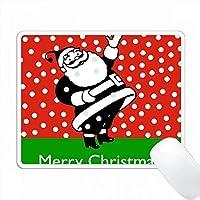 赤い雪の多い背景にレトロなサンタとメリークリスマステキスト PC Mouse Pad パソコン マウスパッド
