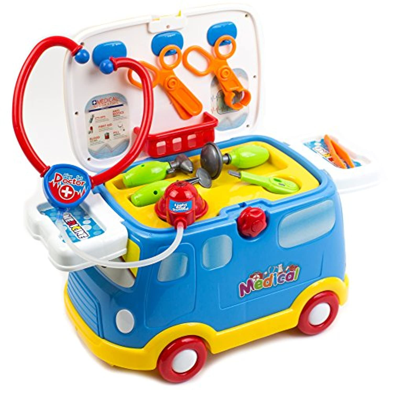2 in 1医療Vehicle for Kids Unique Musical Sound and機器Rescue Ride On車のカラフルなセット医療機器
