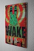 Retro Tin Sign ブリキ看板 Wall Decor Plate WAKE UP! Green Bunny Speaker Metal Wall