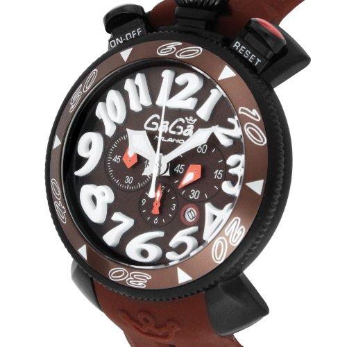 [ガガミラノ]GaGa MILANO 腕時計 クロノ48mm ブラック文字盤 ステンレス(BKPVD)ケース ラバーベルト 100M防水 クロノグラフ デイト 6054.5-BRW RUBBER メンズ 【並行輸入品】