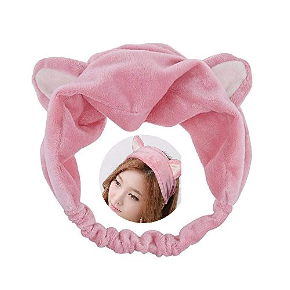 揃える黙認する個人的な可愛い 猫 耳 ヘアバンド メイク アップ フェイス マスク スポーツ カチューシャ 髪型 ピンク