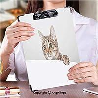 クリップボード A4サイズ対応 レンジップボード ファイルボード遊び心のある好奇心の強い猫の顔 (1個)