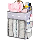 Hanging Nursery Organizer and Baby Diaper Caddy, Selbor Diapers Stacker Storage Bag for Changing Table, Crib, Playard or Wall - Nursery Organization & Baby Shower Gifts for Newborn (Elephant)