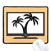 ココナッツの木を植えるビーチシルエット マウスパッド・ノンスリップゴムパッドのゲーム事務所