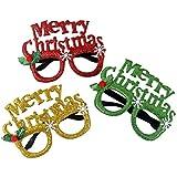 BESTOYARD 2PCSクリスマスパーティーメガネフレームホリデーサングラス写真小道具パーティー好きな子供たちの子供(ランダムパターンと色)