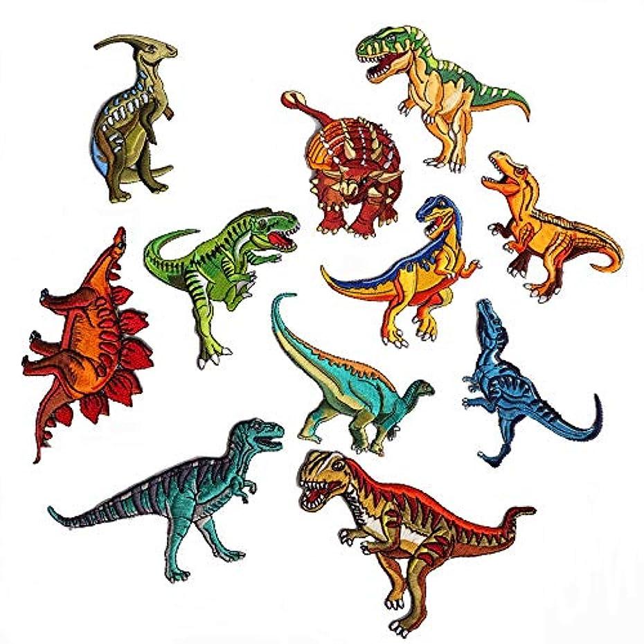 ドレスつば優れたアップアップ(upup) DIY大人気アイロン接着刺繍 アップリケ恐竜 大集合ワッペン11 種類1セット …