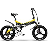 Cyrusher G650折り畳みアシスト自転車 フルサスペンション マウンテンバイク 20インチ 7段速 500w 48v (黄, 12.8ah)