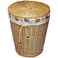 家庭用ラタンランドリーバスケットコットンリネンライニングリッド汚れハンパー服雑貨屋保管用バスケット (色 : 木の色, サイズ さいず : 32 * 43 * 50cm)