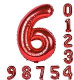 誕生日パーティー赤い風船0-9(ゼロナイン)40インチの数字Mylarのアラビア数字の装飾6