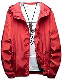 chenshiba-JP メンズ?カジュアルジャケット軽量フードジャケットコート Red XXS