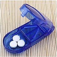 送料無料 切りやすさを追求 簡単操作で錠剤カッター タブレットカッター 錠剤クラッシャー 薬ケース ピルカッター 薬カッター 携帯 錠剤はさみ 三色  (ブルー)