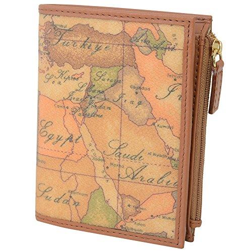 (プリマ・クラッセ)PRIMA CLASSE プリマクラッセ 財布 コンパクト財布 二つ折り財布 小銭入れあり W107 6000 NATURAL Geo Classic 世界地図柄 マップ柄 ベージュ系 [並行輸入品]