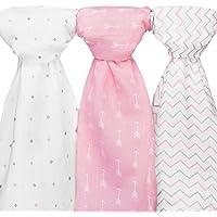 Ziggy Baby Muslin Swaddle Blanket Set, Pink/White, by Ziggy Baby