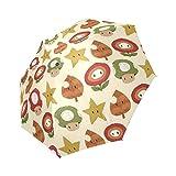beautytool Personalizedマリオアイテムパターン折りたたみ式太陽雨紫外線対策傘