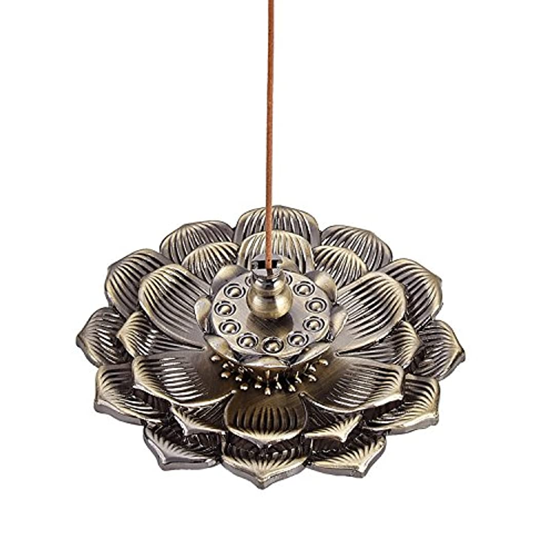 泥沼ペレット戻るUoon Hand MadeチベットLotus Flower Religious Incense Burner forスティック、コーンand Coil Incense