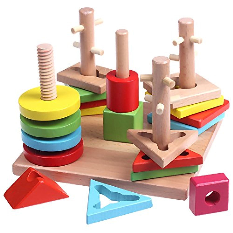 木製Shape SorterボードBuilding Blocks Toyマルチカラー幾何ソートStacker for preschool形状を学習する子&カラー