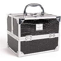 ダブルオープンアルミ美容メイクアップケースPU防水化粧品収納ボックス (色 : ブラック)