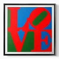 """pluscanvas–愛–ロバート・インディアナ–さまざまなサイズ&フレームオプション 100 x 100cm (40"""" x 40"""") ブラック"""