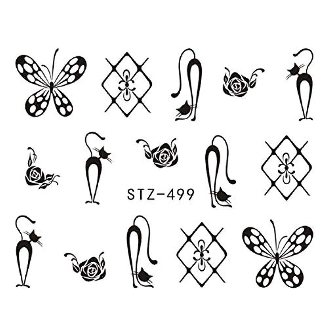 文言フィラデルフィア全部CELINEZL CELINEZL 3 PCS DIYファッション水転写アートデカールネイルステッカー(STZ500) (色 : STZ499)