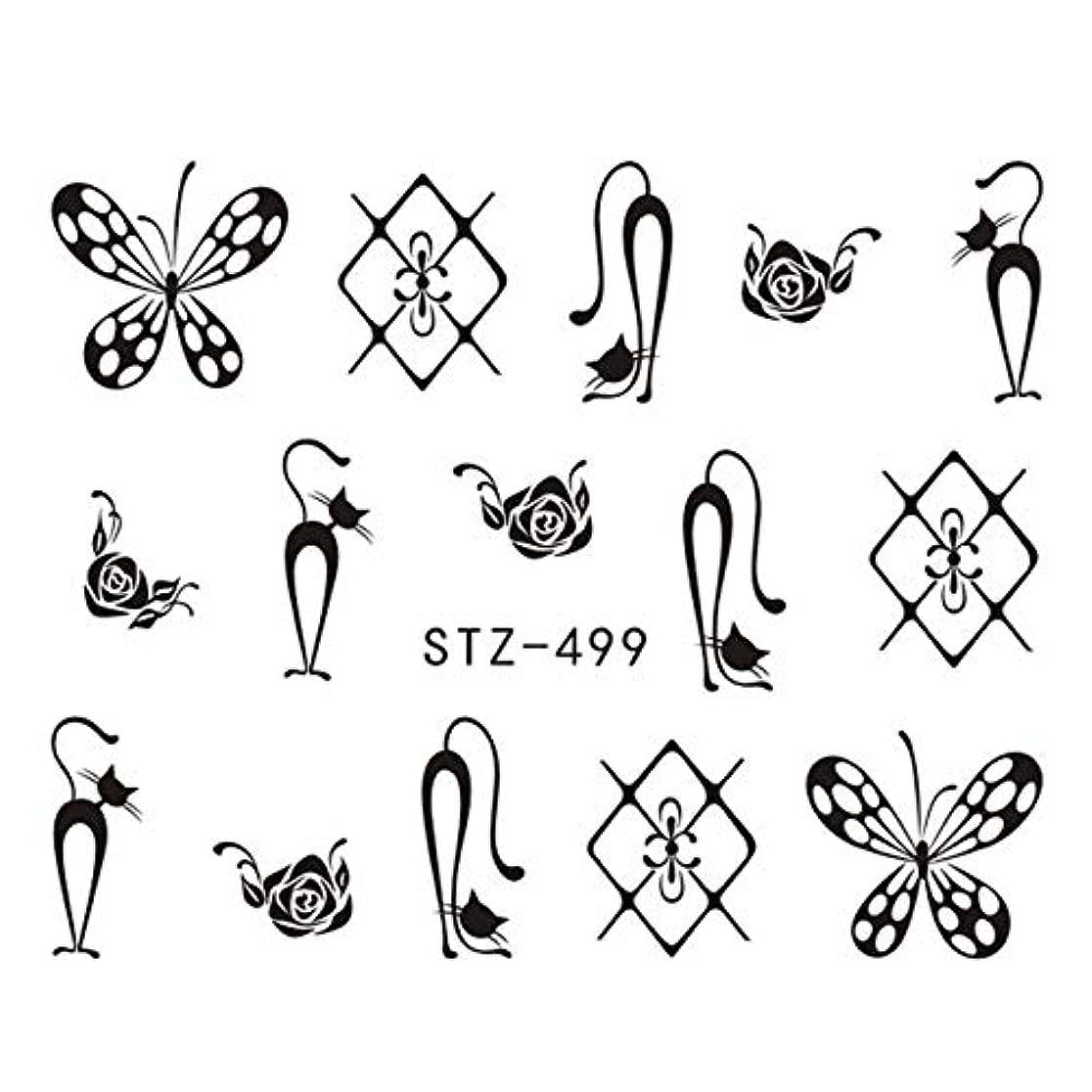 リード大陸プログレッシブCELINEZL CELINEZL 3 PCS DIYファッション水転写アートデカールネイルステッカー(STZ500) (色 : STZ499)