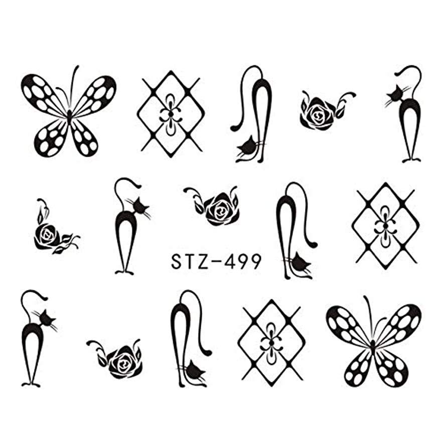 求める薬を飲む批判的CELINEZL CELINEZL 3 PCS DIYファッション水転写アートデカールネイルステッカー(STZ500) (色 : STZ499)