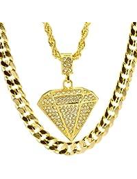 ヒップホップIced Out 14カラットゴールドメッキダイヤモンドシェイプペンダント22