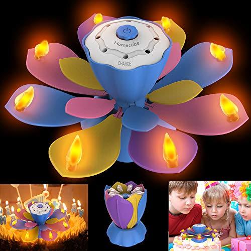 誕生日キャンドル Homecube LEDキャンドル 電気ろうそくライト 3つの点滅モード 誕生日プレゼント 音楽
