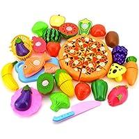 おままごと24個セット ごっこ遊び 収納ボックス 切れる野菜 魚 果物 ピザ 二人遊びセット 知育玩具 子どもの誕生日プレゼント 入園お祝い