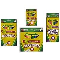 Crayola Crayons (24 Count) Crayola Colored Pencils in Assorted Colors (12 Count) Crayola (10ct) Classic Fine Line Markers and Crayola (10ct) Classic Broad Line Markers Holiday Bundle [並行輸入品]