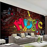 Weaeo 大Scawl Music 3Dグラフィティ壁画3Dレンガ壁紙ロックバーのコーヒーKtv背景3D壁画壁紙-120X100Cm