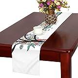 GGSXD テーブルランナー 素敵 バラ クロス 食卓カバー 麻綿製 欧米 おしゃれ 16 Inch X 72 Inch (40cm X 182cm) キッチン ダイニング ホーム デコレーション モダン リビング 洗える