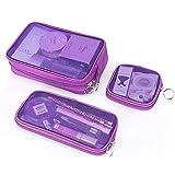 化粧箱、3の透明メッシュ化粧品袋セット、ポータブル旅行化粧品袋収納袋、美容ネイルジュエリー収納ボックス (Color : Purple)