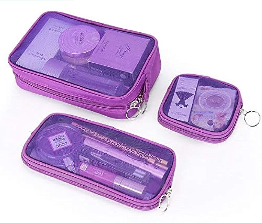 髄こする辞任化粧箱、3の透明メッシュ化粧品袋セット、ポータブル旅行化粧品袋収納袋、美容ネイルジュエリー収納ボックス (Color : Purple)
