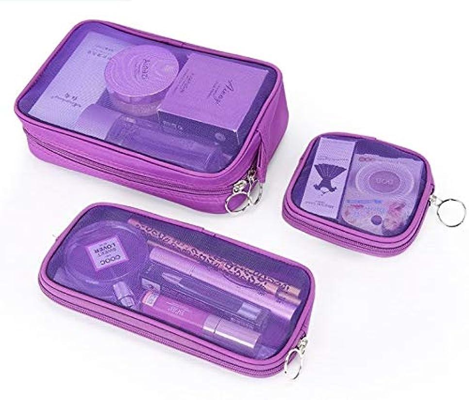 昆虫を見るより平らなキャビン化粧箱、3の透明メッシュ化粧品袋セット、ポータブル旅行化粧品袋収納袋、美容ネイルジュエリー収納ボックス (Color : Purple)