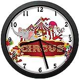 ノスタルジックなテントカーニバルパーティーショーアートウォールクロックミュート家の装飾バッテリー駆動時計10インチ(約25 cm)でかわいいハッピー楽しい訓練されたサーカスの動物