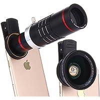 Elecguru HD クリップ式カメラレンズセット 3 in 1カメラレンズ 18X倍望遠レンズ+0.6X広角+15Xマクロレンズ 高画質 簡単装着 遠距離撮影 挟みタイプ 小型 iPhone Android単眼鏡 クリップ式 iPhone 7/6/6s plus/Samsung Galaxy S7/S7 Edge/S6/S6 Edge/Sony/HTC及びほとんどのAndroidスマートフォンに適用 iPad タブレットPC対応 花見用 旅行用 自撮り用(黒) (Black)
