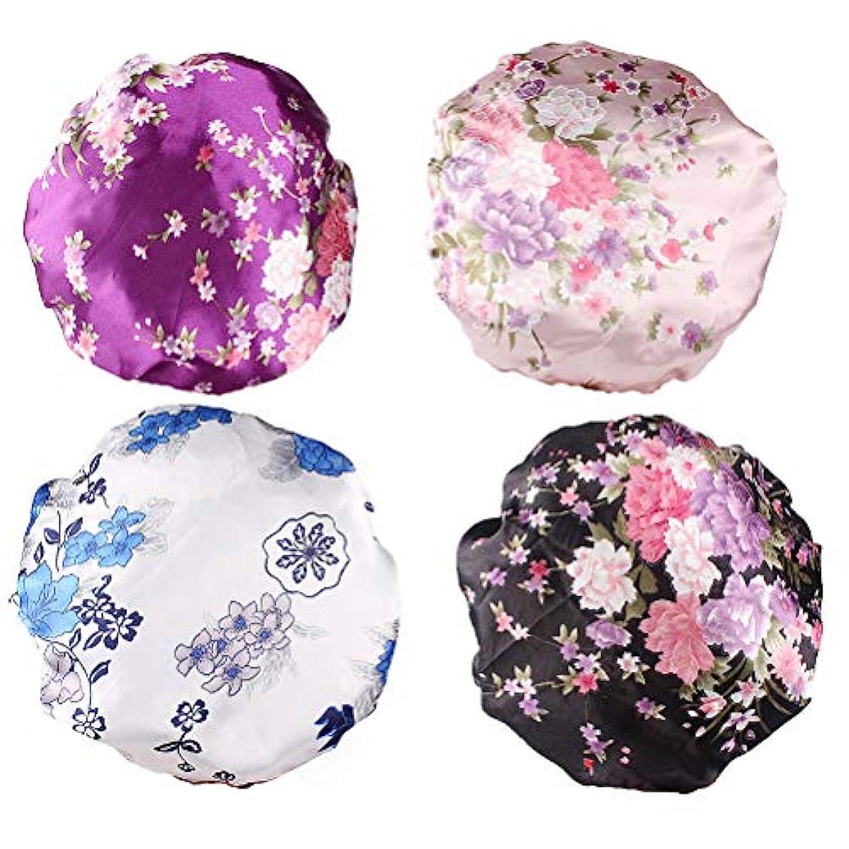 交換運賃狂ったBeaupretty 4本の女性の絹のようなサテンの睡眠の帽子プレミアムゴムバンド付きサテンの睡眠の帽子女性の女の子のためのナイトキャップサロンボンネット抜け毛の帽子(紫色+黒+白+ピンク)