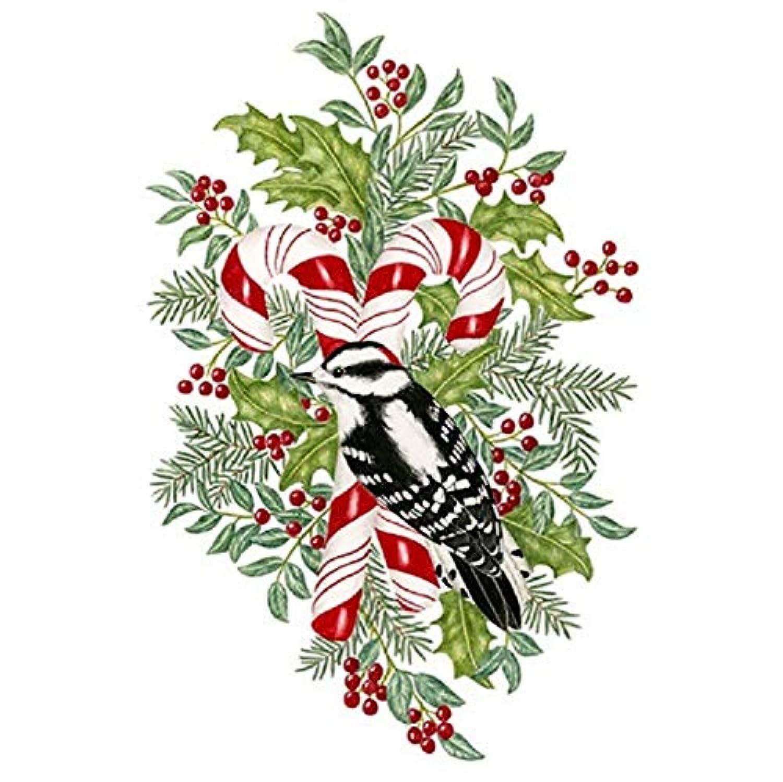 Alice Cottage クリスマス小麦粉サックタオル - キャンディケイン、ホリー、ベリー、鳥