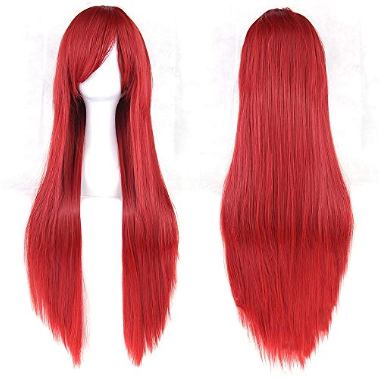 ケージ立場付録女性用ロングナチュラルストレートウィッグ31インチ人工毛替えウィッグサイド別れハロウィンコスプレ衣装アニメパーティーロリータウィッグ (Color : 赤)