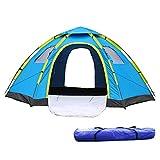 ワンタッチテント ドーム型 ブルー 全3色 5人用 約3.9kg UVカット 通気性抜群 蚊帳付き 収納袋付き [並行輸入品]