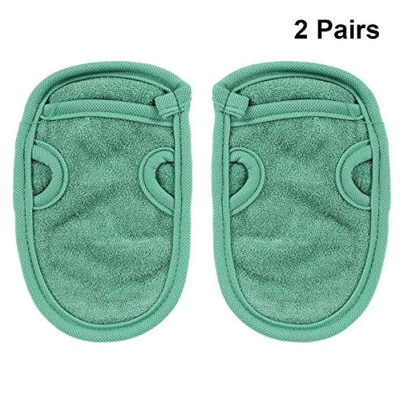 ふつう定数雪のHEALIFTY 4本入浴手袋エクスフォリエイティンググローブスパグローブシャワーグローブフェイシャルグローブバスボディスクラブシャワーグローブボディスパ(グリーン)