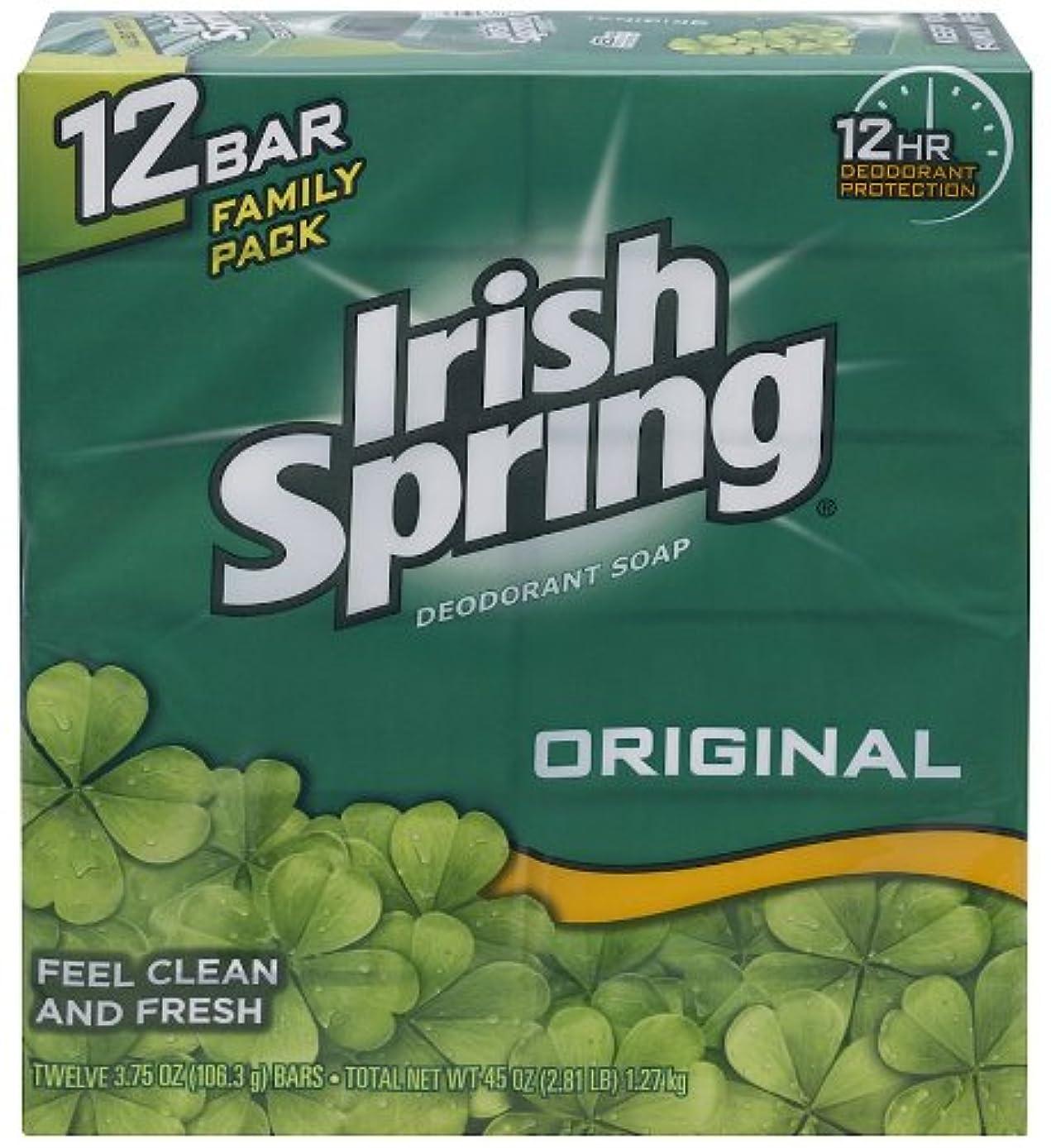 不完全な不機嫌そうな驚いたIrish Spring 入浴石鹸、オリジナル、3.75オズ。バー、12カウント