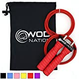 (Red) - WOD Nation Attack Speed Jump Rope by Adjustable Jumping Ropes - Unique 2 Cable Skipping Workout System - 1 Heavy and 1 Light 3.4m Cable - Perfect for Double Unders - Fits Men and Women