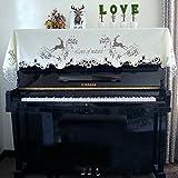 ピアノカバー 欧式 高級 人気 ヘラジカ 刺繍 田園風 ピアノトップカバー アップライト 静電気防止 お祝い トップカバー 防塵カバー 灰つけない 四色 ベージュ A-KUYA