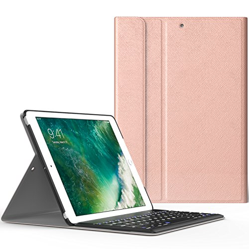 iPad 9.7 2017 ケース - ATiC Apple New iPad 9.7 2017用 Bluetoothキーボード型フォリオケース Rose GOLD (iPad Pro 9.7に適応ない)