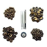 TOOGOO ( R )銅押しスタッドスナップファスナーClothingスナップボタン40個with fixingツール12.5MMブラック ゴールド